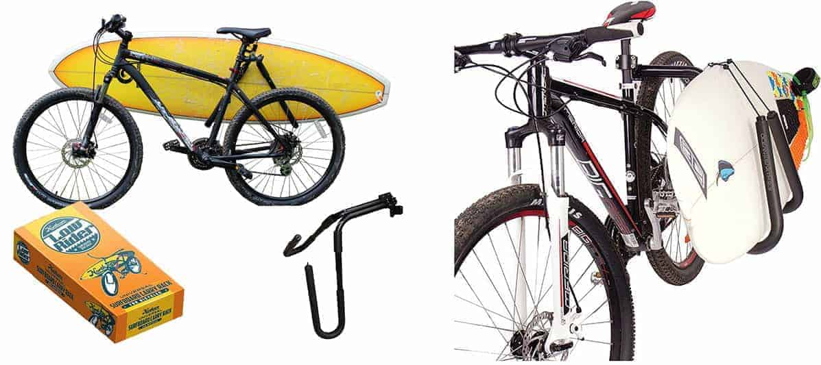 Surfboard rack for bike